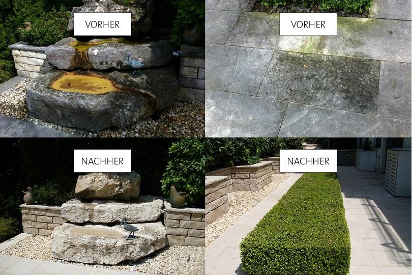 Brunnenreinigung + Pflasterreinigung vorher-nachher